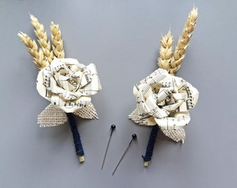 Sheet Music and Wheat Buttonhole / Boutonniere Music Lovers / Mens Buttonholes / Paper Flower / Handmade Wedding Buttonhole / Musical Rose