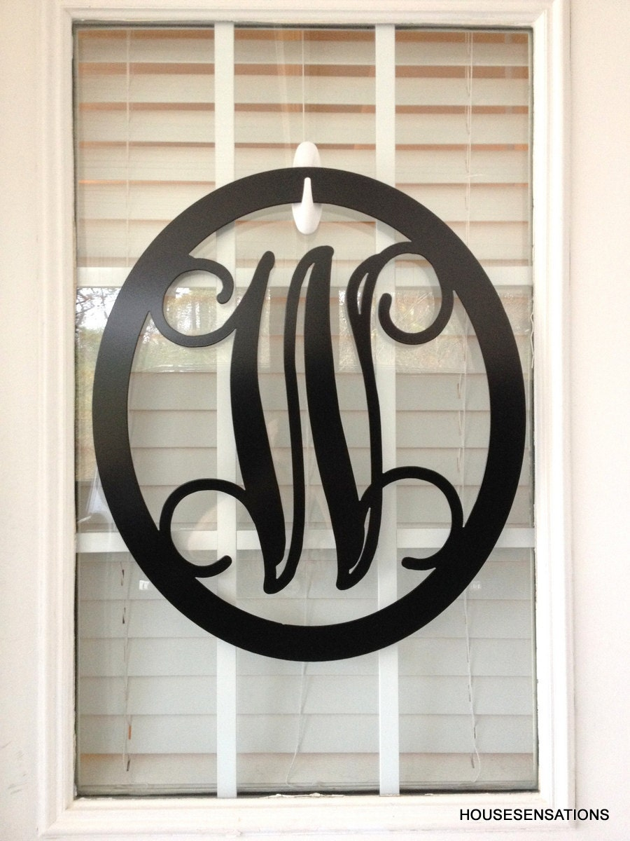 Metal Monogram Letter Monogram Wreath Door Hanger