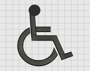 Handicap Disability Symbol Sign Embroidery Design in 1x1 2x2 3x3 4x4 and 5x5 Sizes