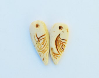 Polymer Clay Faux Bone Teardrops Earring Charms,Drops,Polymer Clay Beads, Handmade Beads