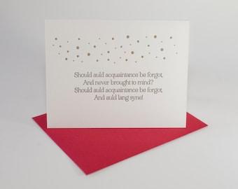 auld lang syne lettepress card