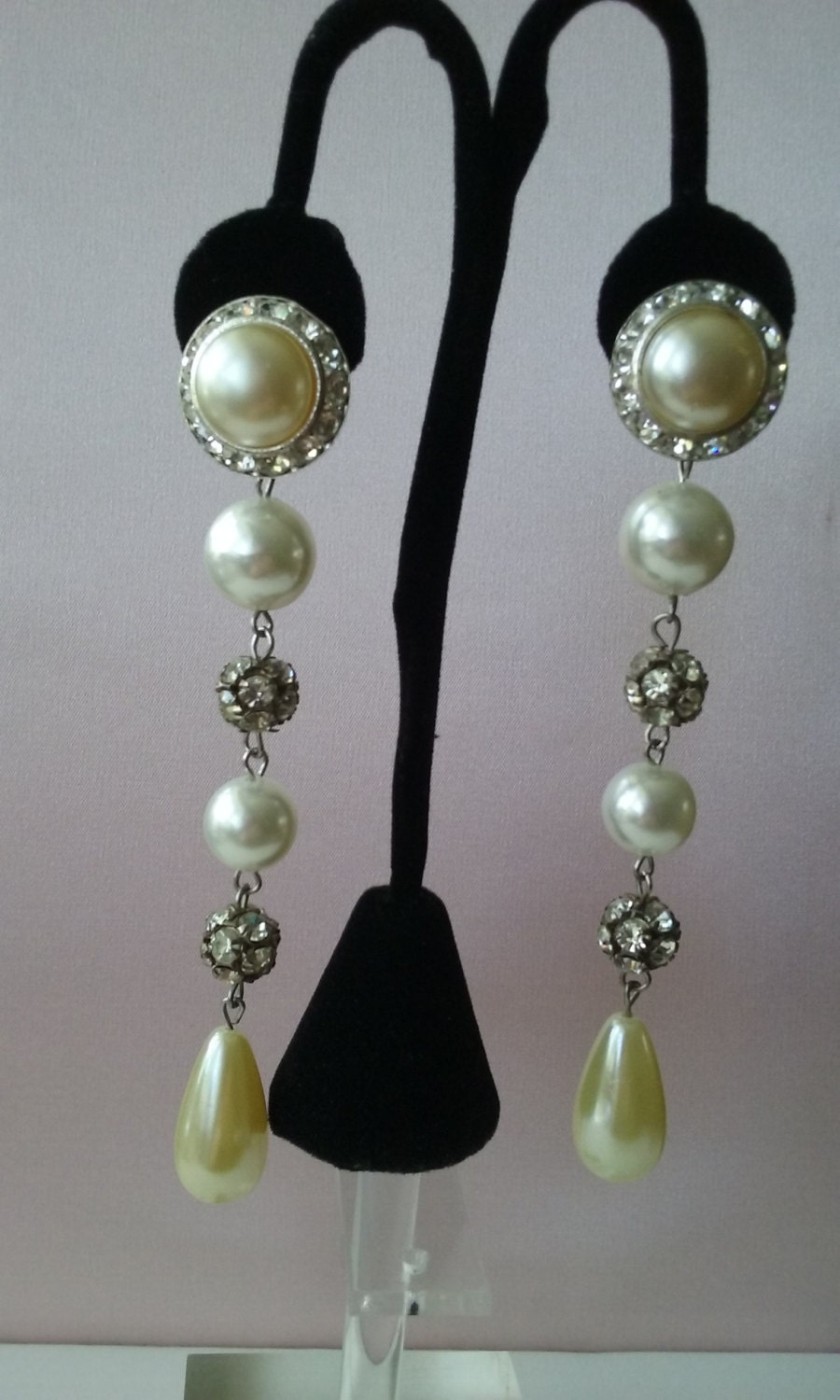 Pearl Rhinestone Clip Earrings Vintage 1950s Faux Pearls With
