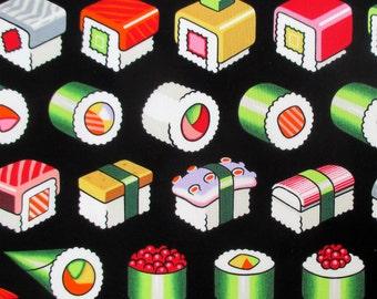 Fabric, Please Enjoy Sushi Rolls on Black, Alexander Henry, By the Yard