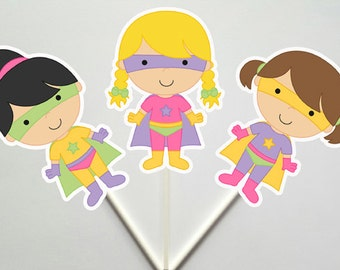 Superhero Cupcake Toppers - Girl Superhero Cupcake Toppers, Supergirl cupcake toppers