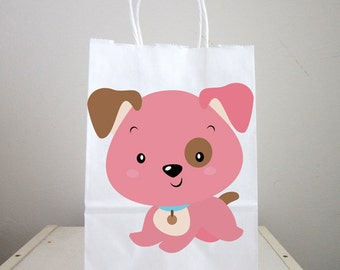 Puppy Goody Bags, Dog Goody Bags, Puppy Favor Bags, Dog Favor Bags - Pink Puppy (2417147P)