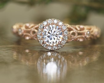 Round Halo Forever One Moissanite and Diamond Engagemetn Ring in 14k Rose Gold, 0.50ct Center, Art Deco and Filigree and Milgrain, Ashlyn