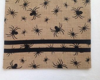 Scary Black Spiders Halloween Print Burlap Table Runner