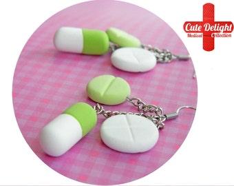 Green Pills Earrings, Pill Earrings, Custom pills earrings, green pills accessories, cute pills earrings, pills jewelry, pill jewelry, pills