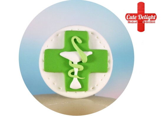 Pharmacy Green Cross Logo Brooch Cute Pharmacy Brooch