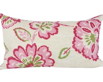 Thibaut Pink Floral Ikat Decorative Pillow Cover - Lumbar Pillow - Throw Pillow - Both Sides - 10x20, 12x16, 12x20, 14x18, 14x20, 14x24