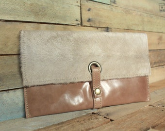 Cowhide clutch, Cowhide wallet, Luxury Leather Wallet, Oversized wallet, Leather Clutch, Beige leather purse, clutch, cow hide wallet