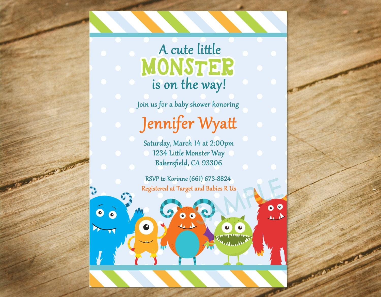 Baby Shower Themes Little Monsters ~ Little monster baby shower invitation theme