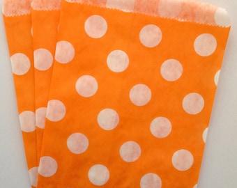 ORANGE Polka Dot Paper Party Bags, 25 Pack