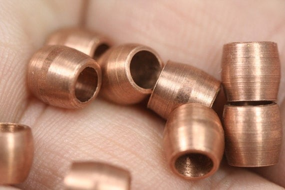 raw copper tube 20 pcs 6 x 6 mm (hole 4 mm) industrial brass charms, spacer bead bab4