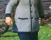 toddler duffle coat baby vintage knitting pattern PDF instant download
