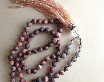 Jasper Boho Beaded Necklace with Peach Crystal Tassel, Spring long layering bohemian necklace