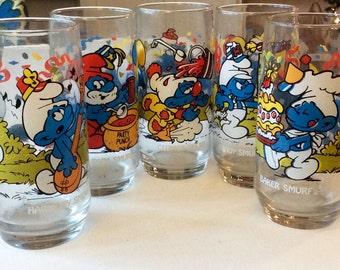 Set of 5 Vintage Smurf Glasses, Peyo Smurf Glasses, Wallace Berrie & Co. Smurff Glasses, Collectible Smurf Glasses, 1980's Smurfs,Papa Smurf