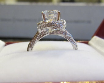 Moissanite Engagement Ring| 14K White Gold| Contemporary Engagement Ring| Diamonds