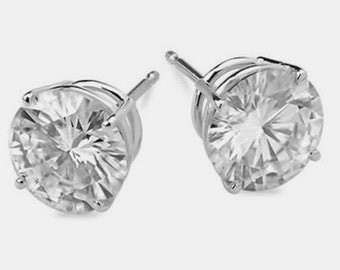 Forever One Moissanite Stud Earrings, 2 Carats, White Gold, Holiday Gift, Bridal Jewelry