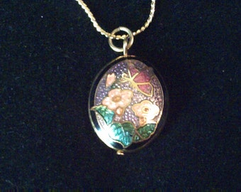 Vintage cloisonne enamel oval pendant and chain necklace, butterfly and flowers pendant, enamel pendant, vintage jewellery, vintage pendant