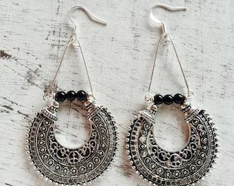 Ethnic earring miao tibetan silver dangle earring, natural gemstone black onyx boho