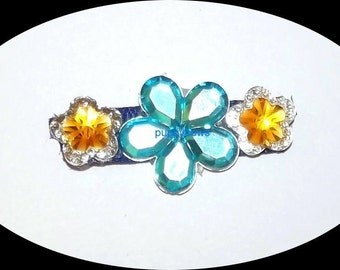 Puppy Bows ~Barrette dog bow flowers butterfly pink blue jewels  ~USA seller