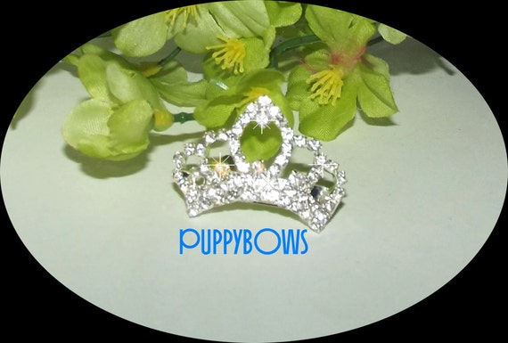 Puppy Bows ~wee tiny 38mm rhinestone Dog Bow TIARA barrette pet hair clip ~USA seller