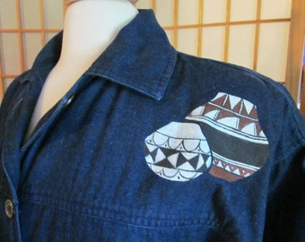 Vintage Southwest Hand Painted Denim Duster / Southwest Long Denim Coat / Ladies Coat / Country Western Attire