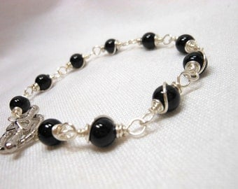 Black Tourmaline Wire Wrapped Bracelet