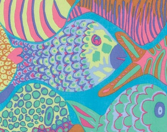 SHOAL PASTEL bm051 Fish by Brandon Mably for Kaffe Fassett Collective Sold in 1/2 yd increments
