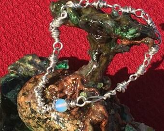 Anklet/Pendulum Solid Sterling Silver bead links w White Sri Lanka Moonstone