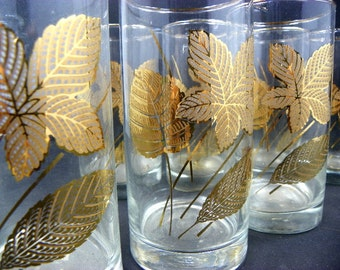 8 Classic Gold Leaf Drinking Glasses by Libby Glassware Brilliant Bold Design