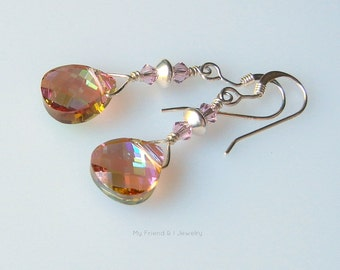 Lavender Teardrop Swarovski Crystal Sterling Silver Earrings Iridescent Sparkle Dainty DE536