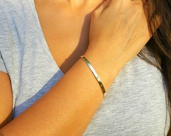 Real 14k Solid gold bracelet, Gold cuff bracelet, Bangle bracelet, Gold bracelet, coordinate engrave on it,