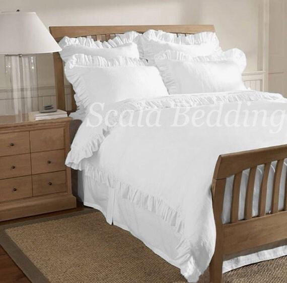 White Solid Edge Ruffle Duvet Cover Set 800 Tc Cotton All Size