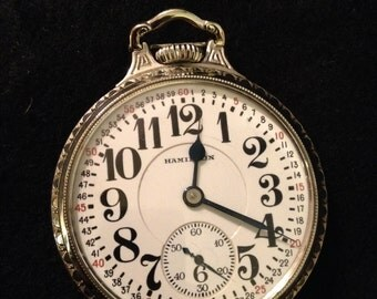 Antique Hamilton 1932 Calibre 992 Railroad Pocket Watch 21 Gold Set Jewels 14K White Gold Filled - Runs Beautifully