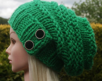 Green hat Knit Hat- Womens Hat- Slouchy Beanie Hat- chunky winter hat with 2 elegant buttons- winter hat-Womens Accessories