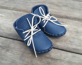Leather baby moccassins  baby shoes gift for baby blue baby shoes baby booties toddler moccasins