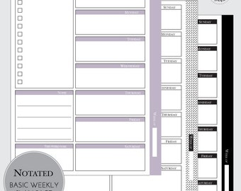 BASIC WEEKLY PLAN : Weekly Plan - Weekly To Do List - Instant Download - Customizable Planner Set