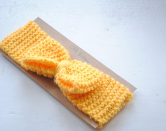 Yellow bow knitted head band