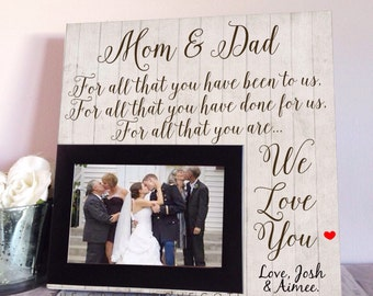 Wedding Gift For Mom - Thank You Wedding Gift - Custom Wedding Frame - Gift For Parents - Mom And Dad Gift  - Father Of The Bride