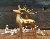 Vintage Brass Deer, Reindeer Candlestick Holder, Fall Autumn Holiday Christmas Decor, Cabin Rustic Decor, Glam Woodland Animal Figure