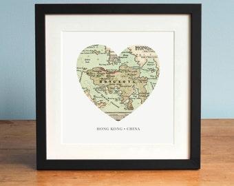 Map of Hong Kong, Hong Kong Heart Map, Hong Kong Map Art, Vintage Map, Antique Map Art, Personalized Map Art, Valentines Day