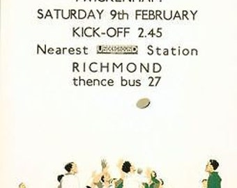 1934 England vs Ireland Rugby at Twickenham Poster A3/A2/A1 Print
