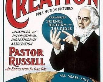 Pastor Russell Creation Movie For Bible Students Creationist JW Poster A3 Print