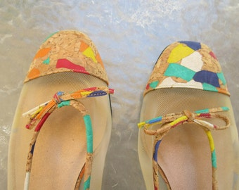 Multi colored Vintage Van Eli size 7.5 W flats shoes with mesh and cork
