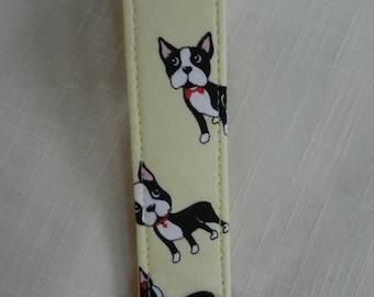 Boston Terriers on Yellow fabric key fob, key chain, wristlet, camera strap,flash drive holder