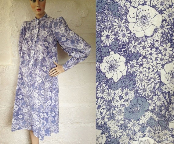 1970s Laura Ashley Made In Wales Blue Wildflower Smock / 70s