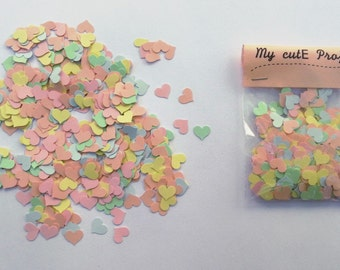 Confettis - 500 heart pastel - Scrapbooking - Party confetti