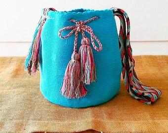 Wayuu Mochila Bag/ Hand-Woven/ Turquoise / Indigenous Mochila